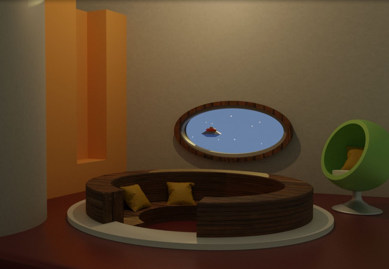 This image shows a room with a conversation pit set into the center of the floor. A green pod chair stands in the corner, and a unidentified flying object is visible outside.