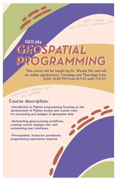 Shown is a poster for a geospatial programming course.